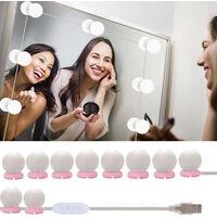 Vanity LEDs Mirror Lights Kit with 10 Bulbs Adjustable 10 Brightness & 3 Lighting Modes USB Mirror String Light for Makeup Dressing Table,model: pink&white