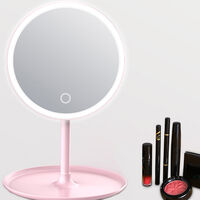 Screen Switch L-ED Backlit Makeup Mirror Natural White Light Detachable Base Desk Makeup Mirror,model:Pink