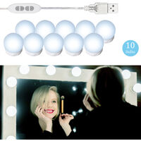 LEDs Vanity Mirror Lights Kit with 10 Light Bulbs 3 Color Modes & Dimmable 10 Brightness Levels USB Powered Mirror String Light for Makeup Dressing Table,model:White