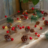LED Christmas Decorative Light Pine Cone Light String 2 Meters 20 LED Warm Light IP54 No Battery During Shipping,model:Red Complex Style