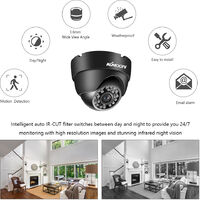 Dome Bullet CCTV Camera with Metal Housing Indoors and Outdoors Use Intelligent Motion System IP66 Waterproof Pal System,model:Black Pal System