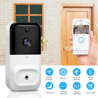 720P Wireless WIFI Video Doorbell Security Camera with Night Vision Two-way Audio PIR Motion Detection Remote Access,model:White