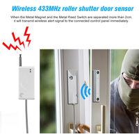 eTIGER ES-D4F Long Distance Wireless 433MHz Door Sensor Roller Shutter Metal Rolling Door Magnetic Contact Sensor Door Window Open Detector For Etiger Home Burglar Alarm System,model:White