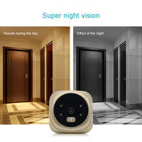 3.0'' Digital Door Viewer Smart LCD Digital Peephole Door Camera Viewer HD Monitor with Night Vision Wide View Angle for Home Security,model:Gold