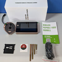 HD 1080P Peephole Door Camera Doorbell Digital Door Viewer 4.3-inch LCD Screen Night Vision Photo Shooting WiFi Connection Wecsee APP Control for Home Security,model:Silver