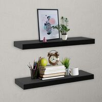 Floating Wall Shelves 2 pcs Black 60x20x3.8 cm
