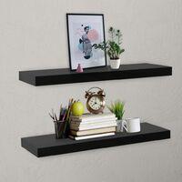 Floating Wall Shelves 2 pcs Black 80x20x3.8 cm