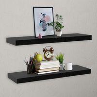 Floating Wall Shelves 2 pcs Black 100x20x3.8 cm