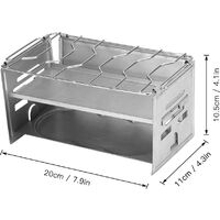 Potable Folding Stainless Steel Backpacking Stove Outdoor Wood Camp Stove Picnic BBQ Grill,model:Silver