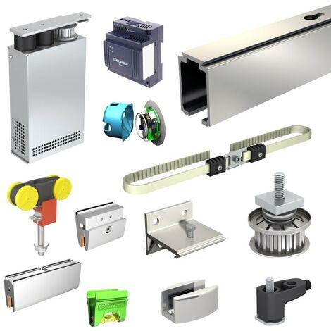 Glas-Schiebetürbeschlag mit Motor SLID'UP M300, für Funk-Steuerung, Laufschiene 390 cm (2x 195 cm), für 2 Glastüren bis je