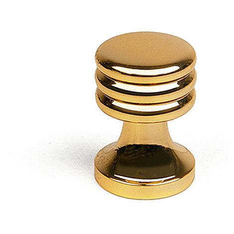 Bouton de style décoratif, en laiton, finition dorée et diamètre de 15 mm.