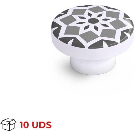 Boîte avec 10 Bouton décoratif en mosaïque, en bois, finition grise et diamètre de 38 mm.