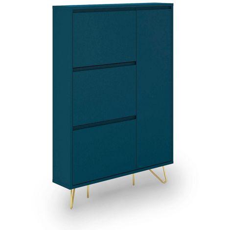 ELOISE - Meuble à chaussures bleu canard muni de 3 tiroirs et 1 porte