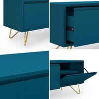 ELOISE - Meuble TV bleu canard composé de 1 tiroir et 1 porte design