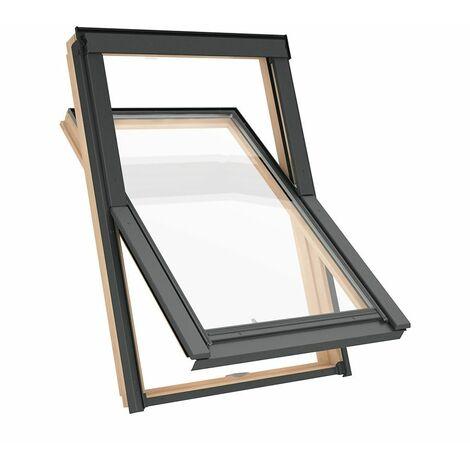 Fenêtre de toit C2A 55 x 78cm Solstro AAX B500, Finition Naturelle en Pin + Raccord d'étanchéité inclus - TFX Raccord d'étanchéité Tuile