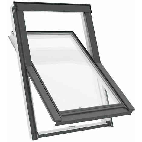 Fenêtre de toit M4A 78 x 98 cm Solstro APX B700, PVC Blanc + Raccord d'étanchéité inclus -  UFX Raccord d'étanchéité Universel