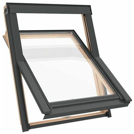 Fenêtre de toit M4A 78 x 98 cm Solstro DPY B900, en bois avec un cadre de type étroit + Raccord d'étanchéité inclus - SFX Raccord d'étanchéité Ardoise