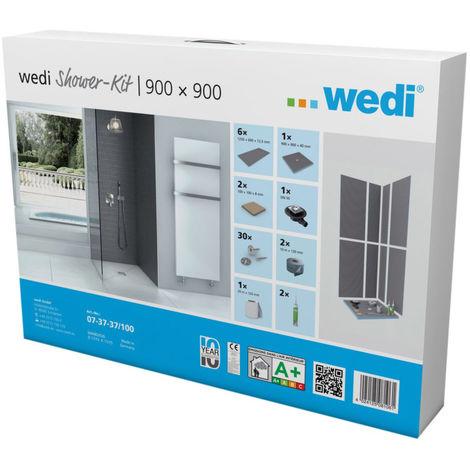 Kit douche d'angle plain-pied Wedi Fundo Shower Kit Primo 900x900x40mm
