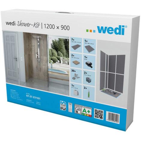 Kit douche d'angle plain-pied Wedi Fundo Shower Kit Primo 1200x900x40mm