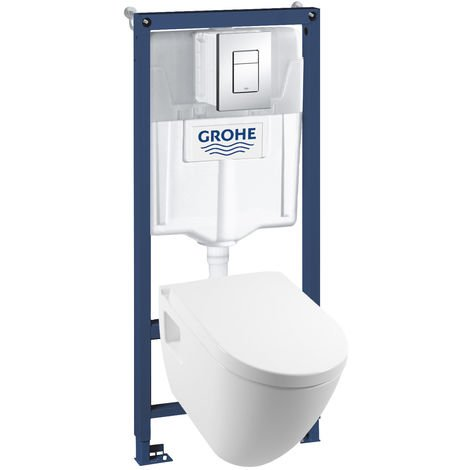 Pack Bâti-support GROHE Rapid SL + Plaque + cuvette SEREL Rimless
