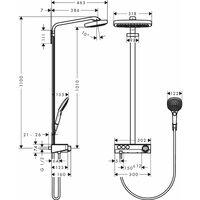 HANSGROHE Showerpipe 300 3jet avec mitigeur thermostatique ShowerTablet Select 300 blanc/chromé Raindance Select E