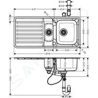 HANSGROHE Evier encastré 340/150/400 avec égouttoir acier inoxydable S41