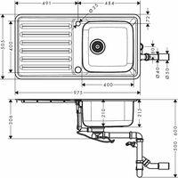HANSGROHE Evier encastré 400/400 avec égouttoir acier inoxydable S41