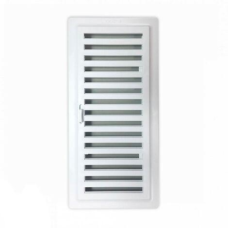 Rejilla ventilación baño PVC 9.8x22.5 cm con marco y cierre - Blanco