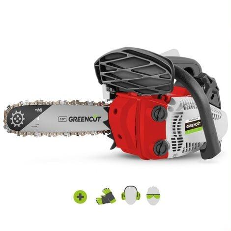 """Motosierra GS250X-10 motor gasolina 2 tiempos 25cc 1,4cv. Espada de 10"""". Num dientes 40. Manillar ergonómico. Arnés bandolera - Greencut"""