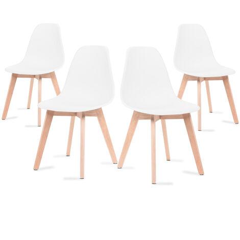 Sillas de comedor blancas, sillas tulip con respaldo ergonómico de polipropileno y patas de madera, estilo escandinavo, pack 4 sillas