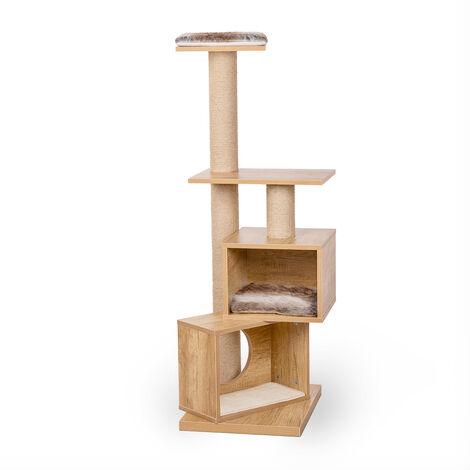 Arbol rascador para gato, arbol para gatos con 2 nidos y 2 plataformas, arbol de actividades con poste rascador para gatos, poste de sisal, 4 alturas, casa para gatos, juguete de gatos, centro de actividad, altura 121cm.
