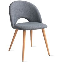 Pack de 2 sillas de comedor, salón, oficina o cocina, sillas tapizadas y acolchadas, estilo nórdico, gris