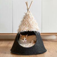 Cama para gatos, tipi para gatos, tienda india para mascotas, casa para gatos, cama cueva para gatos, caseta para gatos, tienda para gatos, cama para mascotas, negro y beige.