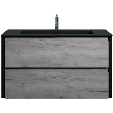 Muebles de baño Bocay 90cm Roble gris - Lavabo Negro - armario de base lavabo bano