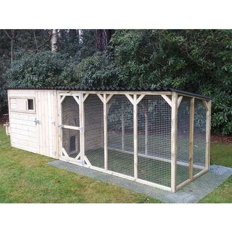 Chicken or duck house with large run - Pressure Treated Poultry shed or hen coop - For up to 24 Hens