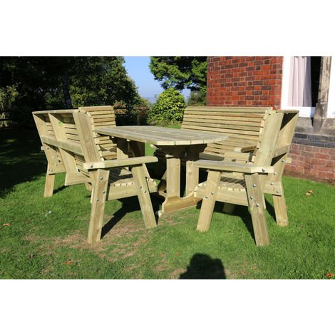 Ergo Table Set - Sits 8, wooden garden dining furniture with chairs, bench and table