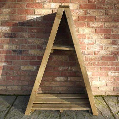 """Small Triangular 2' 8"""" x 1' 4"""" Overlap Pressure Treated Log Store"""