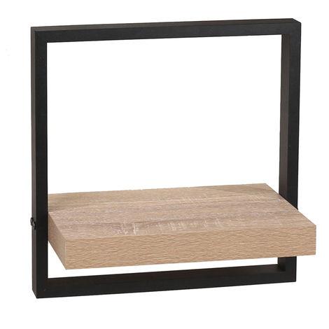 Nova Framed Floating Shelf Kit - Oak Effect Shelf With Black Frame