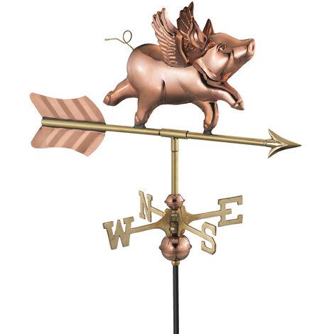 Cottage Flying Pig Copper Weathervane
