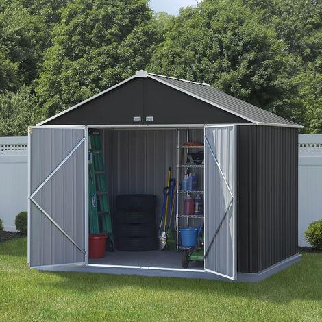 10x8 Double Door Metal Ezee Shed Grey