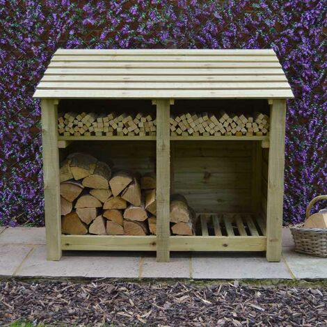 Cottesmore 4ft log store + Kindling Shelf Light Green