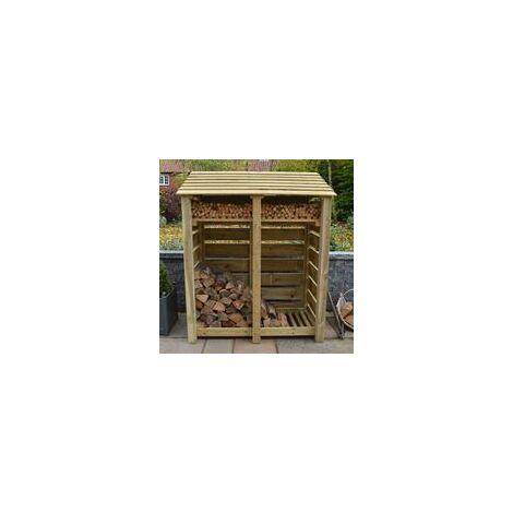 Cottesmore 6ft log store + Kindling Shelf Light Green