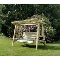 Antoinette Swing - Sits 3, wooden garden swinging chair hammock