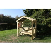 Anastasia 3 seat Garden Arbour, wooden garden bench seat with trellis