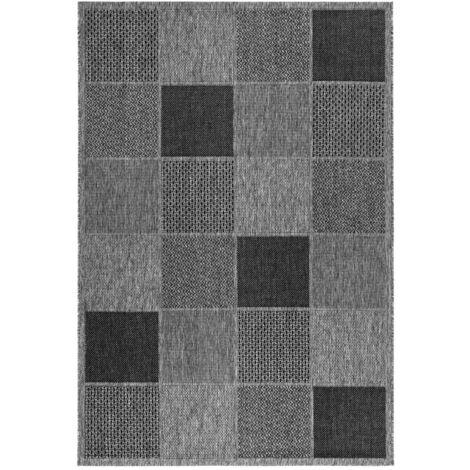 Sisal Teppich Look Modern Kasten Design Struktur Küche Grau Schwarz 80cm x 150cm