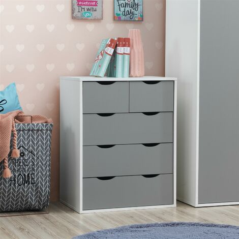 Alton 3+2 Drawer Bedroom Cabinet Bedside Chest Of Drawers White & Grey