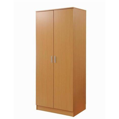 2 Door Double Wardrobe In Beech - Bedroom Furniture Storage Cupboard