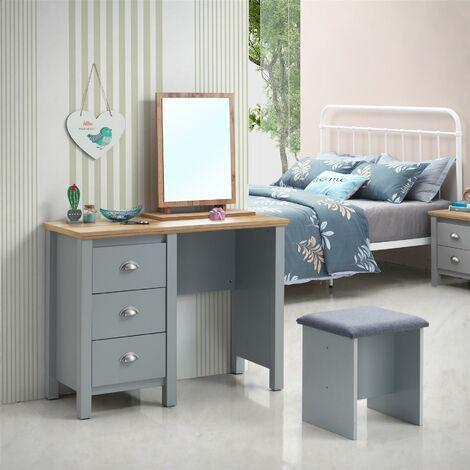 Eaton Grey Makeup Dressing Table Stool Bedroom Chair Seat Vanity Stool