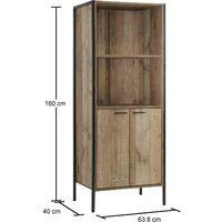 Stretton 2 Door Bookcase Storage Cabinet Shelving Display Sideboard Rustic Oak