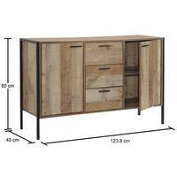 Stretton Sideboard 2 Doors 3 Drawers Storage Cabinet Cupboard Rustic Industrial
